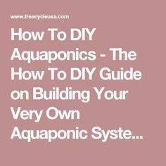 How To DIY Aquaponics - The How To DIY Guide on Building Your Very Own Aquaponic System - FREECYCLE USA