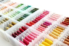 Organizing Your Embroidery Floss It's Allison , from little lovelies, here to share my favorite embroidery storage idea with you. You can see the other needlework posts that I have done for 30 days by clicking here. For my post this month, I wanted to sh Embroidery Floss Storage, Embroidery Supplies, Ribbon Embroidery, Cross Stitch Embroidery, Embroidery Patterns, Cross Stitch Patterns, Dmc Embroidery Floss, Art Patterns, Thread Storage
