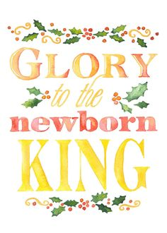 "Christian Christmas cards with watercolor words saying ""Glory to the Newborn King."" Set of 10"