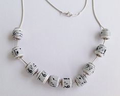 Geometric Paper Bead Necklace by MagdaCrafts on Etsy