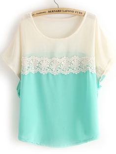 Green White Short Sleeve Lace Chiffon Blouse - Sheinside.com