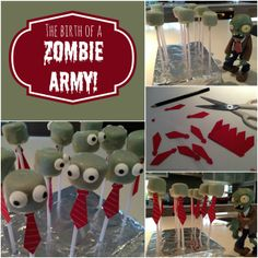 Marshmallow pops Plants vs Zombies party