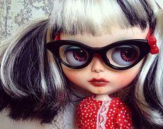 Custom Blythe Doll by Blythe & Shine! OOAK Black + White Hair. Nose-ring.