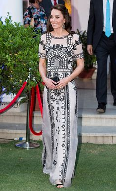 Catherine Duchess of Cambridge attends a Garden party celebrating the Queen's 90th birthday on April 11 2016 in New Delhi India
