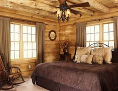 Image result for ideas on hanging curtains on log cabin logs