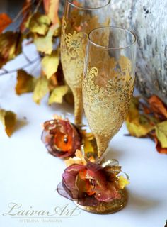 Gold / Fall / Wedding / Champagne Flutes / Champagne by LaivaArt