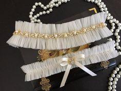 wedding garter set tulle bridal garter set bow by alarastore