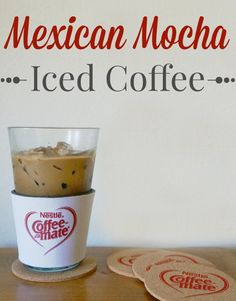This Mexican mocha iced coffee recipe features the Abuelita Granulated Chocolate Drink Mix and Coffee-mate Abuelita Mexican Chocolate liquid creamer.