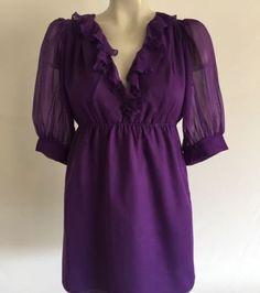 AMANDA UPRICHARD AU Exclusively For Barneys New York Purple Silk Blouse Sz L