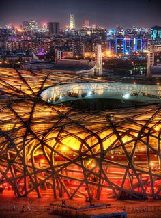 Beijing National Stadium, officially the National Stadium, also known as the Bird's Nest, is a stadium in Beijing, China. The stadium was designed for use throughout the 2008 Summer Olympics and Paralympics.