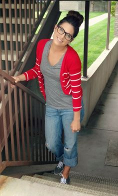 Fall Casual Outfit Red and White Striped Cardigan [love the whole look down to glasses and topknot!)Top: Old Navy($9.50) Cardigan: Forever 21($14.80) Jeans: Old Navy($19) Shoes: Vans @ Journeys($39)