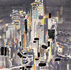 Skyscraper, city - by  Wu Guanzhong (吳冠中, 1919–2010)