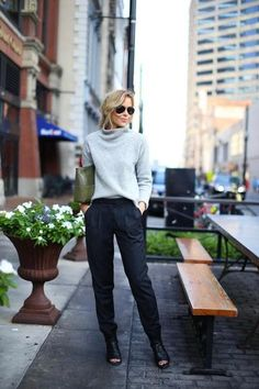 Swapping a few basic workwear staples will do wonders for your winter work outfits. Slip on a textured turtleneck sweater, as Mary of Happily Grey did, instead of a silk blouse; and try tapered wool pants instead of a skinny or straight pair. Winter Outfits For Work, Winter Outfits Women, Winter Fashion Outfits, Work Fashion, Casual Outfits, Fashion Looks, Work Outfits, Winter Layering Outfits, Work Dresses