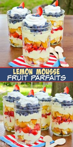Lemon Mousse Fruit Parfaits - layers of snack cakes, lemon cream, and fresh fruit in jars makes a cute and portable no bake dessert! Easy recipe for summer parties and picnics! #nobakedesserts #fruitparfaits #lemoncream #lemonpiefilling #strawberries #blueberries