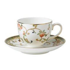 Wedgwood Oberon Leigh Flora Tea Cup and Saucer Set - Coffee Cups and Mugs Cup And Saucer Set, Tea Cup Saucer, Teapots And Cups, Tea Service, Wedgwood, Fine China, Tabletop, Dinnerware, Tableware