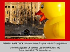 GIANT RUBBER DUCK (50' Tall) [2012].12/11 @ ENGLAND – London: River Thames --- Floating past the Tower of London // inflatable balloon Sculpture floating around the world to spread Peace/Goodwill