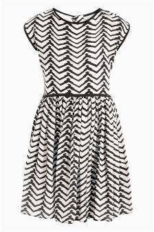 Mono Chevron Tea Dress (3-16yrs)