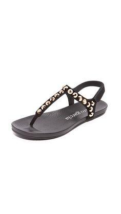 Black/Rose Gold Pedro Garcia Judith Studded Sandals