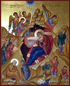 Icon of the Nativity of Our Lord, God and Savior Jesus Christ. Religious Images, Religious Icons, Religious Art, Holly Pictures, Church Icon, Jesus Art, Byzantine Icons, Orthodox Icons, Angel Art