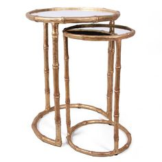 Bliss Studio Cane Antique Gold Nesting Accent Tables