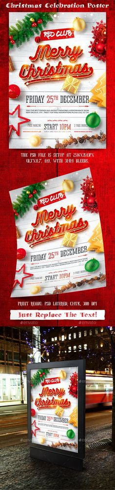 "Buy Christmas Celebration Poster by on GraphicRiver. ""Christmas Celebration Poster"" is perfect for event/celebration that you are organizing that day at your club/pub/bar. Christmas Balls, Christmas And New Year, Merry Christmas, Christmas Events, Winter Christmas, Winter Holidays, Holidays And Events, Christmas Flyer Template, Christmas Poster"