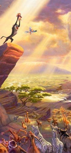 Art Thomas kinkade Disney The Lion King Ditolla Disney Pixar, Simba Disney, Arte Disney, Disney Lion King, Disney Films, Disney Animation, Disney And Dreamworks, Disney Magic, Disney Art