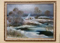 """Одеваемся теплее. Одна из любимых работ о зиме #очаг #живопись #oilpainting #зимахолодно #Красовская Купить Картина маслом """"Замерзающая речка"""" - комбинированный, теплый дом, холод, речка, картина маслом"""