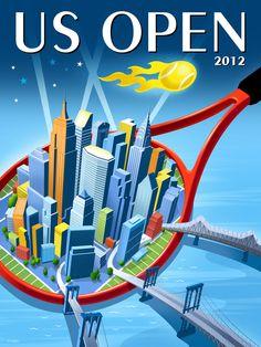 2012 US Open Tennis Theme Art by Michael Crampton, via Behance