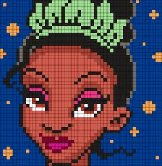 Tiana From The Princess And The Frog (Square) Perler Bead Pattern / Bead Sprite