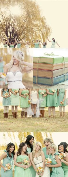 in love with the mismatched mint green bridesmaid dresses
