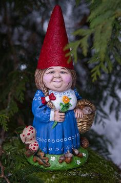Mrs. Gnome With Basket Large Hand Painted By OnceUponaGnome