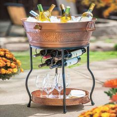 Party Ice Bucket Tall Stand Cooler Galvanized Copper Tray Beverage Tub Wine Rackproduct Description With This Beautiful And You