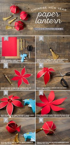 Make your own pretty DIY paper lantern for Chinese New Year with this design, download and tutorial by handcrafted lifestyle expert Lia Griffith