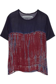 RAQUEL ALLEGRA Tie-dyed silk-chiffon top