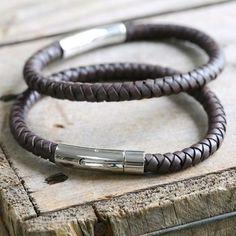 Engraved Men's Brown Leather Bracelet