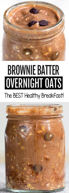 recipes breakfast Brownie Batter Chocolate Overnight Oats for a healthy breakfast that's vegan and. Brownie Batter Chocolate Overnight Oats for a healthy breakfast that's vegan and gluten free Overnight Oats With Yogurt, Chocolate Overnight Oats, Peanut Butter Overnight Oats, Easy Overnight Oats, Chocolate Oats, Overnight Breakfast, Best Overnight Oats Recipe, Chocolate Covered, Chocolate Chips