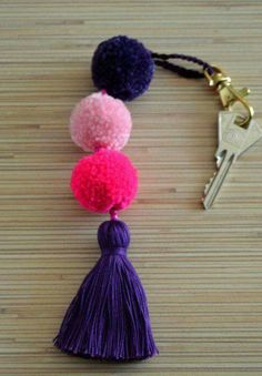 Pom pom keychian Purse charm Tassel keychain Pom pom bag charm Handbag charms Tassel bag charm Pom pom key chain Pom poms tassels Boho Gypsy Colorful bag charm / key chain made of hand crafted pom poms and tassels. Crafts For Teens, Crafts To Sell, Diy And Crafts, Modern Crafts, Pom Pom Crafts, Yarn Crafts, Etsy Crafts, Pom Pom Rug, Pom Poms