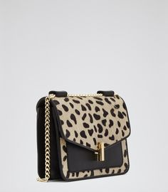 £95 Womens Animal Print Mini Animal-print Bag - Reiss Elliott Print