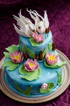 Lake with swans cake - http://cakesdecor.com/cakes/274483-lake-with-swans-cake