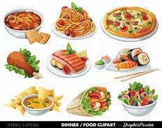 Food Clip art Food Clipart Spaghetti Pizza Sushi by GraphicPassion Nacho Salad, Real Food Recipes, Yummy Food, Food Clips, Cute Food Drawings, Food Stickers, Food Icons, Food Illustrations, Sweets