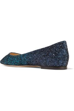 Jimmy Choo - Romy Dégradé Glittered Leather Point-toe Flats - Teal - IT38.5