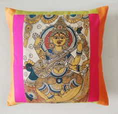 Hand Painted Kalamkari Cushion Cover by anekdesigns on Etsy, $25.00