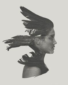 Untamed, Surreal Fine Art Photography Bird Crow Raven Feather Silhouette Girl Woman Black White Portrait