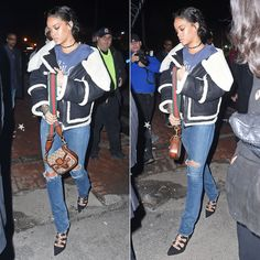 Rihanna wearing Dsquared2 Fall 2015 shearling trim jacket, Roots of Fight Joe Frazier Thrilla in Manila tee, Citizens of Humanity Premium Vintage Arley jeans, Manolo Blahnik Latta lace-up pumps, Gucci Lady Web handbag, Jennifer Fisher ribbon knot choker, Tom Ford Nastasya cat eye sunglasses