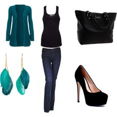 Cute teal outfit with jeans! Maybe outfit for one of my Bon JOVI concert, only switch out top w/ sequins and different jacket