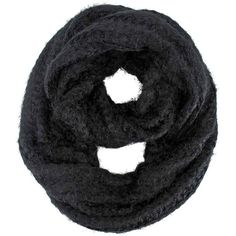 Black Eyelash Knit Soft Fuzzy Infinity Scarf ($22) ❤ liked on Polyvore featuring accessories, scarves, black, heavy, chunky knit infinity scarf, infinity loop scarves, knit circle scarf, tube scarf and infinity circle scarf