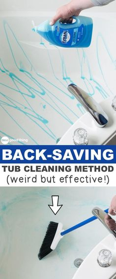 This cleaning hack for the bathtub will save your back and your time! A list of cleaning tips and tricks for lazy people (for the bathroom, bedroom, kitchen and more!). Listotic.com #homecleaningtips