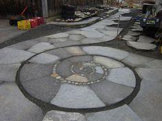 Custom Made Spiral Patio, Walkway, Low Retaining Wall, And Curved Steps Stone Walkway, Stone Path, Stone Steps, Pebble Mosaic, Stone Mosaic, Backyard Walkway, Backyard Landscaping, Landscaping Ideas, Garden Paving