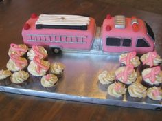 Breast Cancer Awareness Pink Fire Truck and Pink Ribbon Cupcakes | Shared by LION