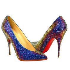 CHRISTIAN LOUBOUTIN CRYSTAL PUMPS RAINBOW BLUE RED BOTTOM SHOES
